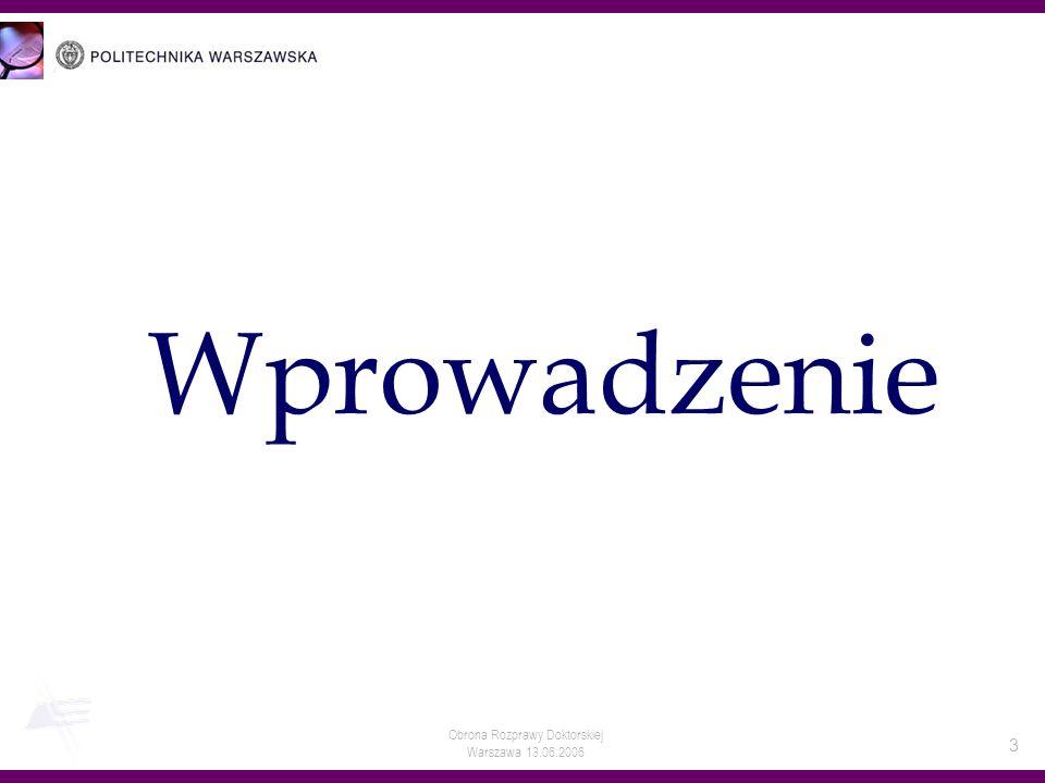 Obrona Rozprawy Doktorskiej Warszawa 13.06.2006 3 Wprowadzenie
