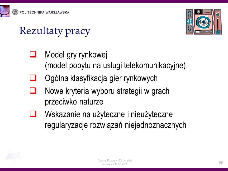 Obrona Rozprawy Doktorskiej Warszawa 13.06.2006 56 Rezultaty pracy Model gry rynkowej (model popytu na usługi telekomunikacyjne) Ogólna klasyfikacja g