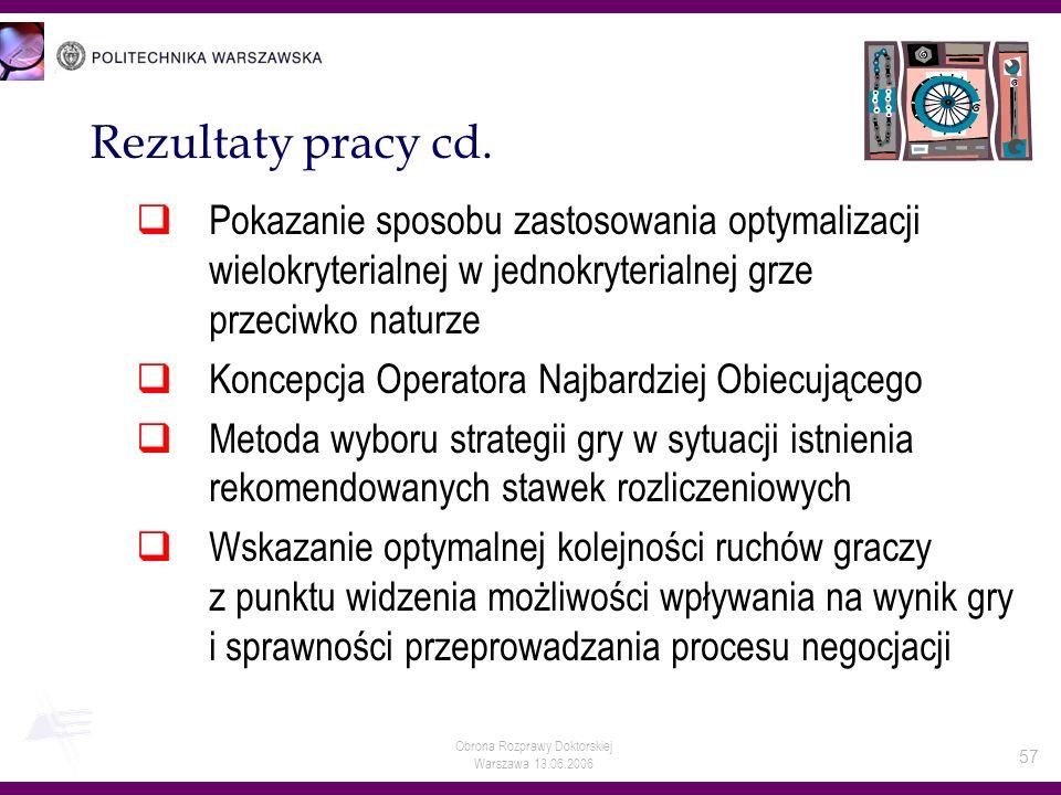 Obrona Rozprawy Doktorskiej Warszawa 13.06.2006 57 Rezultaty pracy cd. Pokazanie sposobu zastosowania optymalizacji wielokryterialnej w jednokryterial