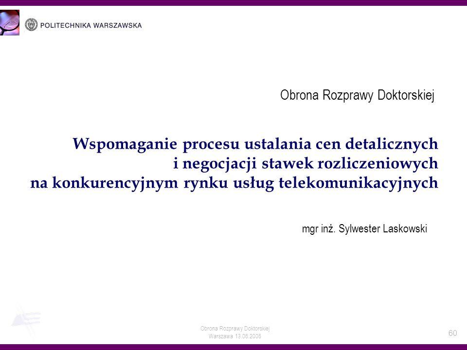 Obrona Rozprawy Doktorskiej Warszawa 13.06.2006 60 Wspomaganie procesu ustalania cen detalicznych i negocjacji stawek rozliczeniowych na konkurencyjny