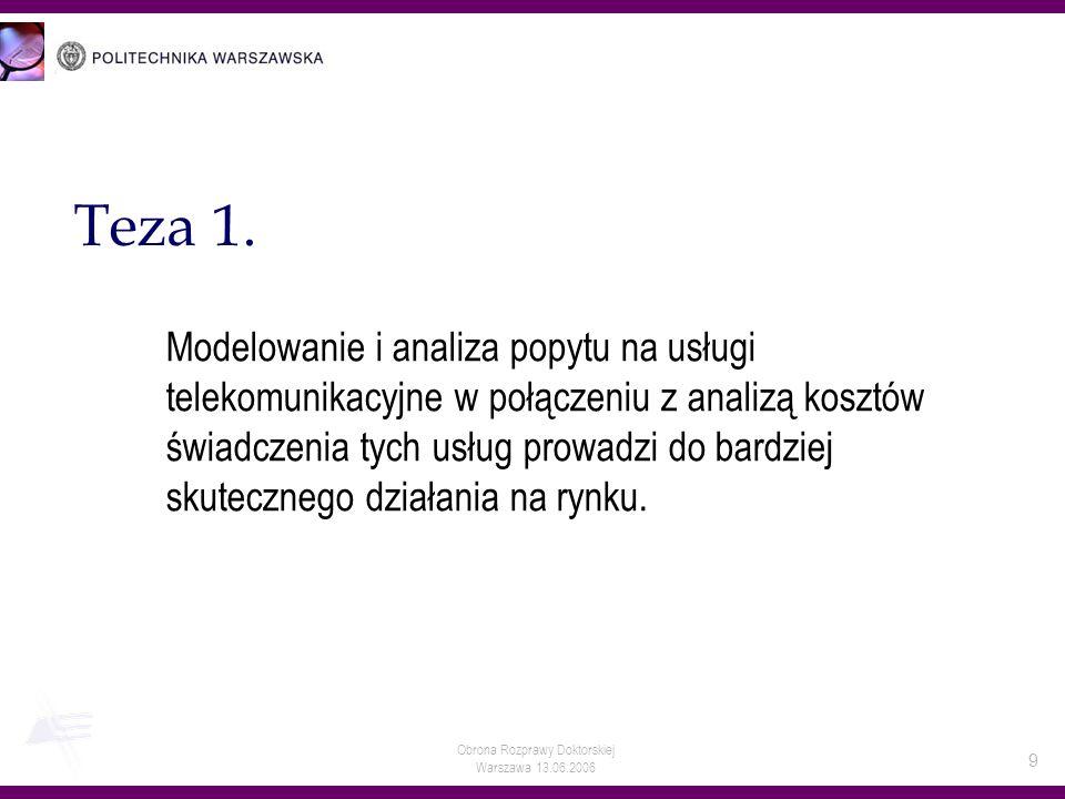 Obrona Rozprawy Doktorskiej Warszawa 13.06.2006 9 Teza 1. Modelowanie i analiza popytu na usługi telekomunikacyjne w połączeniu z analizą kosztów świa