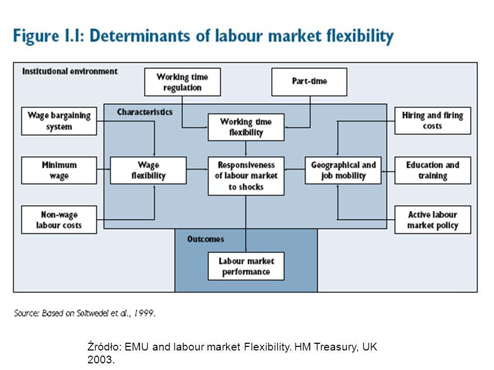 Źródło: EMU and labour market Flexibility. HM Treasury, UK 2003.