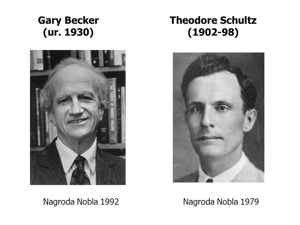Gary Becker (ur. 1930) Theodore Schultz (1902-98) Nagroda Nobla 1992Nagroda Nobla 1979