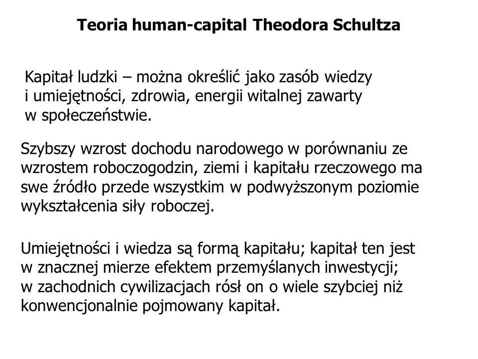 Teoria human-capital Theodora Schultza Kapitał ludzki – można określić jako zasób wiedzy i umiejętności, zdrowia, energii witalnej zawarty w społeczeń
