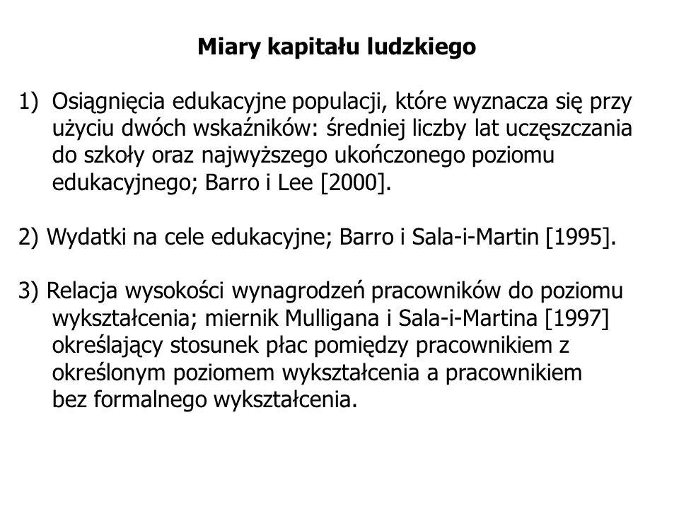 Miary kapitału ludzkiego 1)Osiągnięcia edukacyjne populacji, które wyznacza się przy użyciu dwóch wskaźników: średniej liczby lat uczęszczania do szko
