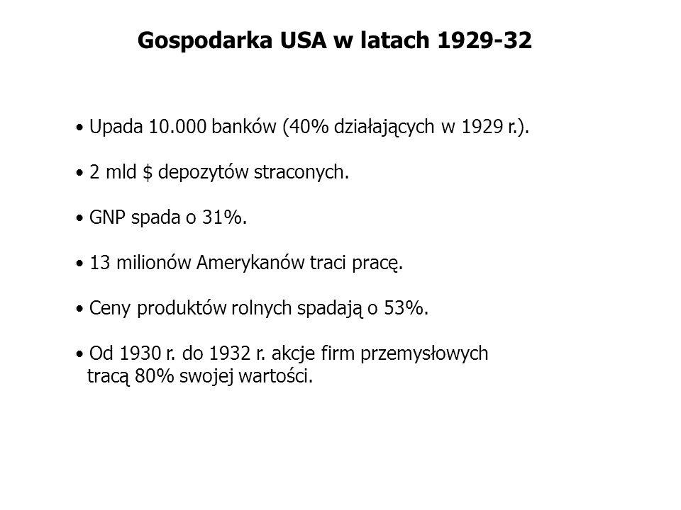 Gospodarka USA w latach 1929-32 Upada 10.000 banków (40% działających w 1929 r.). 2 mld $ depozytów straconych. GNP spada o 31%. 13 milionów Amerykanó