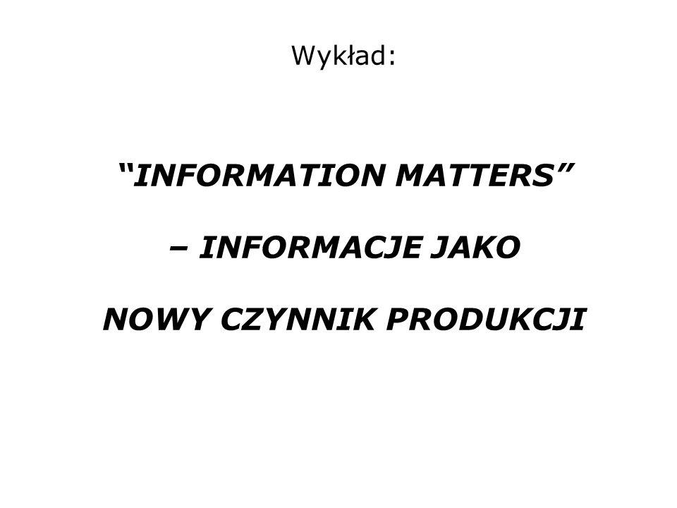 Wykład: INFORMATION MATTERS – INFORMACJE JAKO NOWY CZYNNIK PRODUKCJI