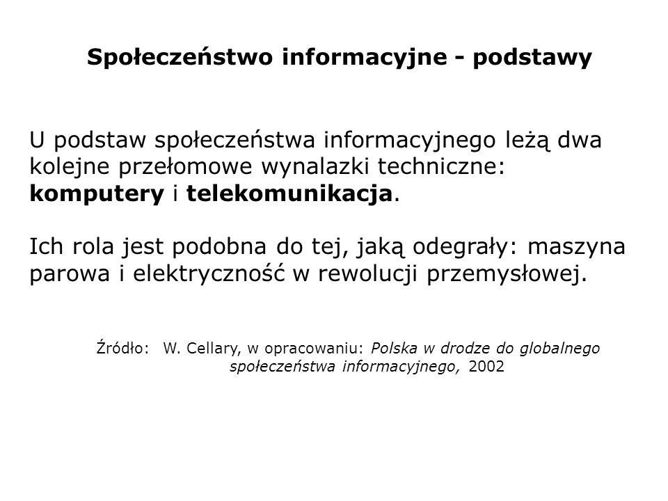 Społeczeństwo informacyjne - podstawy U podstaw społeczeństwa informacyjnego leżą dwa kolejne przełomowe wynalazki techniczne: komputery i telekomunik