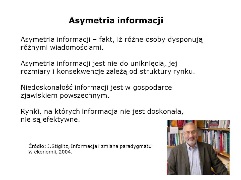 Asymetria informacji – fakt, iż różne osoby dysponują różnymi wiadomościami. Asymetria informacji jest nie do uniknięcia, jej rozmiary i konsekwencje