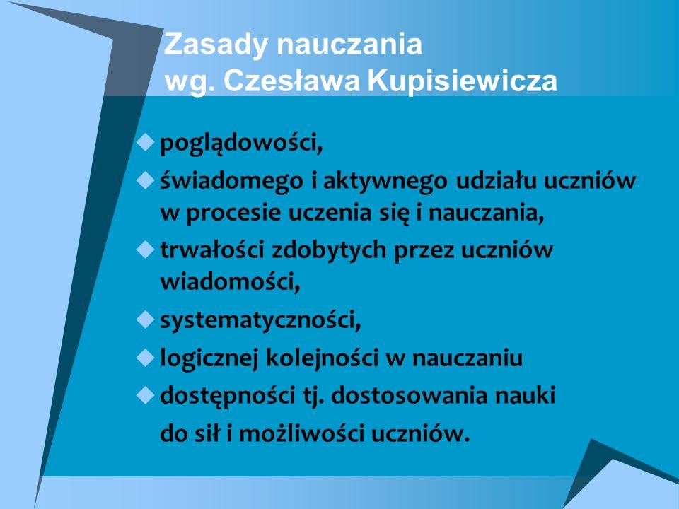 Zasady nauczania wg. Czesława Kupisiewicza poglądowości, świadomego i aktywnego udziału uczniów w procesie uczenia się i nauczania, trwałości zdobytyc