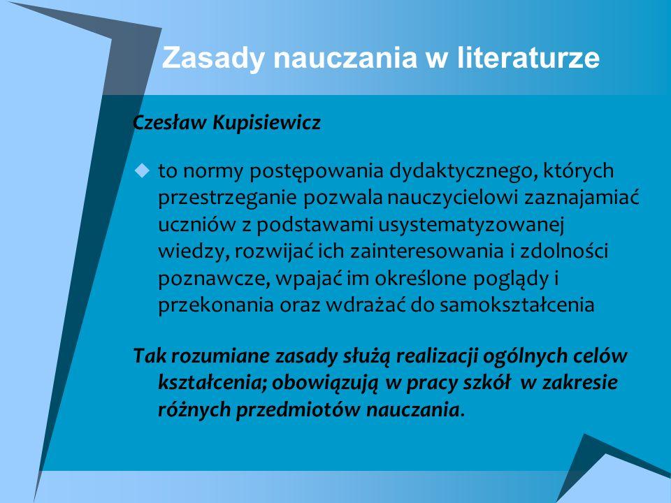 Zasady nauczania w literaturze Czesław Kupisiewicz to normy postępowania dydaktycznego, których przestrzeganie pozwala nauczycielowi zaznajamiać uczni