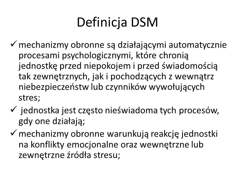 Definicja DSM mechanizmy obronne są działającymi automatycznie procesami psychologicznymi, które chronią jednostkę przed niepokojem i przed świadomośc