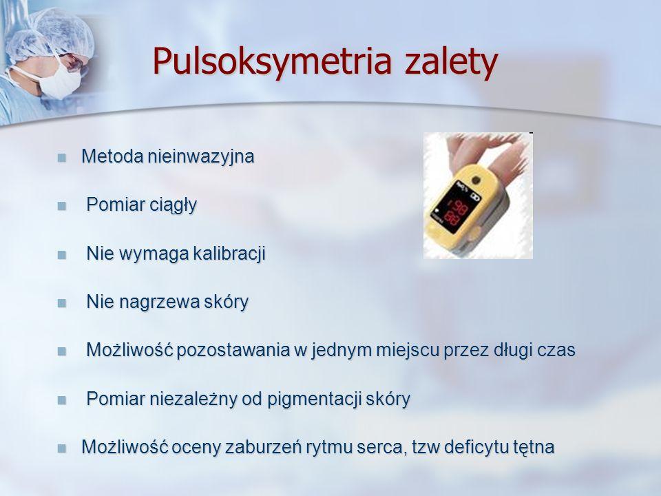 Pulsoksymetria zalety Metoda nieinwazyjna Metoda nieinwazyjna Pomiar ciągły Pomiar ciągły Nie wymaga kalibracji Nie wymaga kalibracji Nie nagrzewa skó