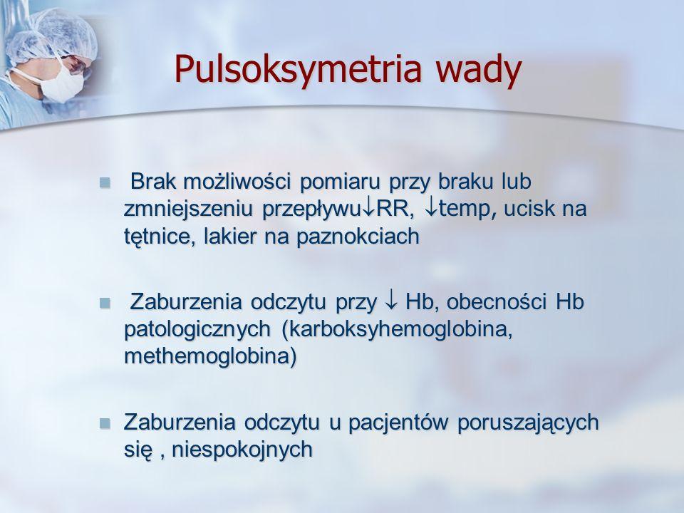 Pulsoksymetria wady Brak możliwości pomiaru przy braku lub zmniejszeniu przepływu RR, temp, ucisk na tętnice, lakier na paznokciach Brak możliwości po