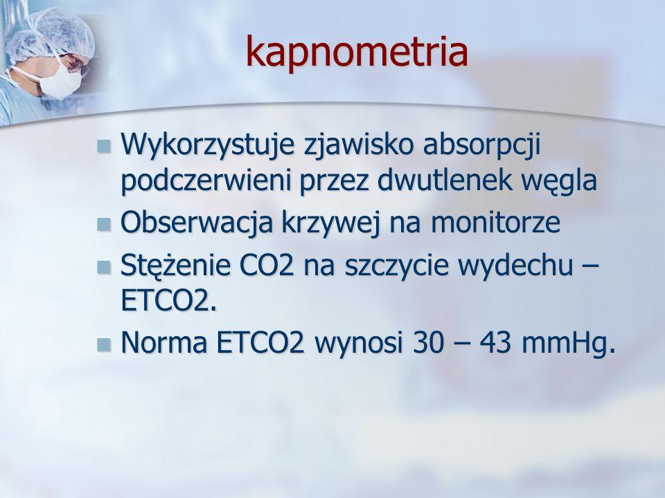kapnometria Wykorzystuje zjawisko absorpcji podczerwieni przez dwutlenek węgla Wykorzystuje zjawisko absorpcji podczerwieni przez dwutlenek węgla Obse