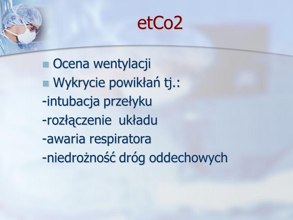 etCo2 etCo2 Ocena wentylacji Ocena wentylacji Wykrycie powikłań tj.: Wykrycie powikłań tj.: -intubacja przełyku -rozłączenie układu -awaria respirator