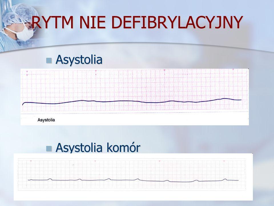 RYTM NIE DEFIBRYLACYJNY Asystolia Asystolia Asystolia komór Asystolia komór