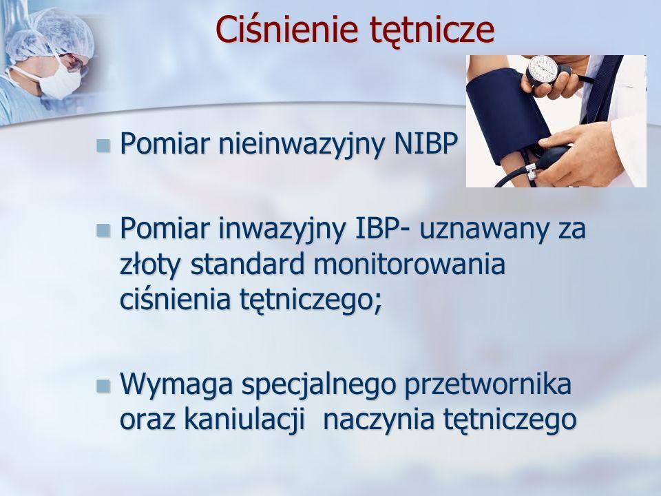 Ciśnienie tętnicze Ciśnienie tętnicze Pomiar nieinwazyjny NIBP Pomiar nieinwazyjny NIBP Pomiar inwazyjny IBP- uznawany za złoty standard monitorowania