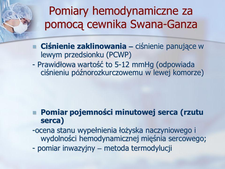 Pomiary hemodynamiczne za pomocą cewnika Swana-Ganza Ciśnienie zaklinowania – ciśnienie panujące w lewym przedsionku (PCWP) Ciśnienie zaklinowania – c