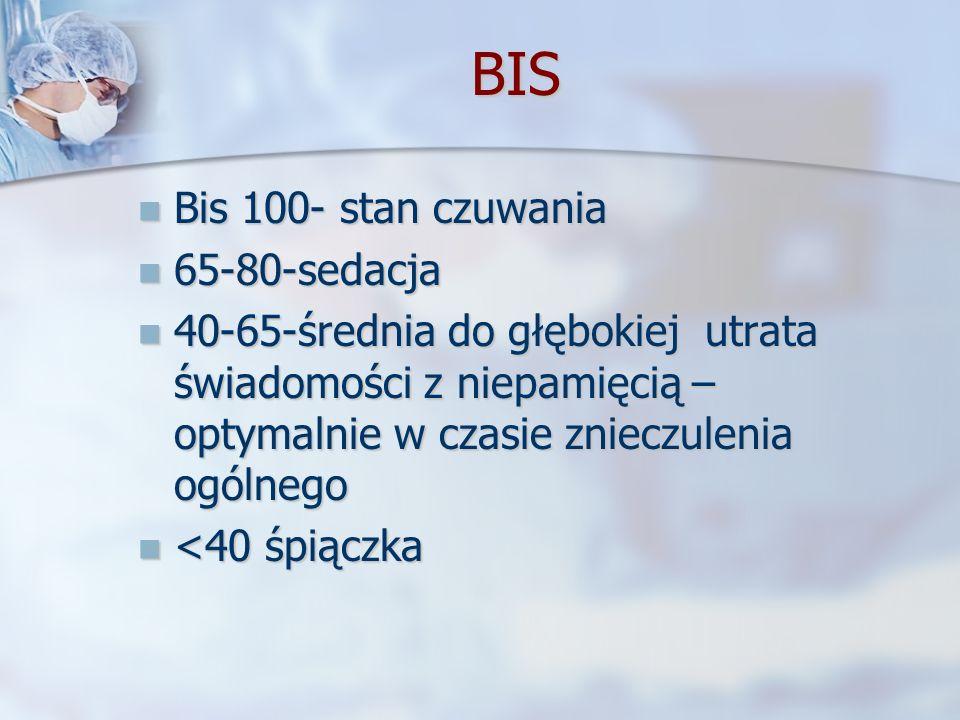 BIS Bis 100- stan czuwania Bis 100- stan czuwania 65-80-sedacja 65-80-sedacja 40-65-średnia do głębokiej utrata świadomości z niepamięcią – optymalnie