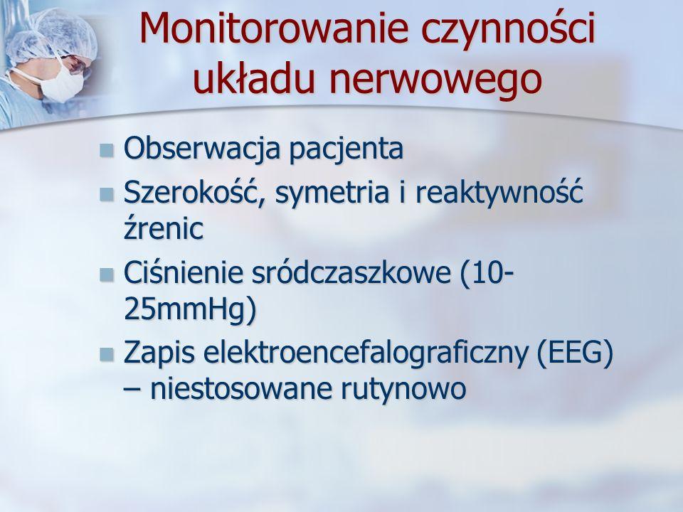 Monitorowanie czynności układu nerwowego Obserwacja pacjenta Obserwacja pacjenta Szerokość, symetria i reaktywność źrenic Szerokość, symetria i reakty
