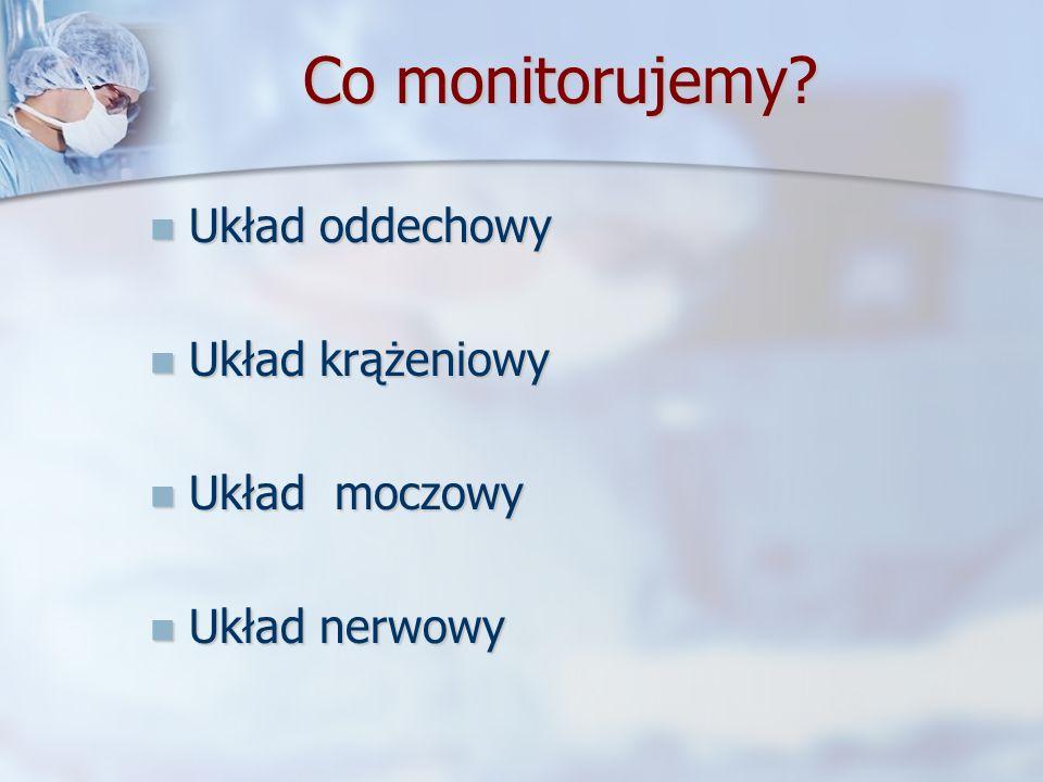 Co monitorujemy? Układ oddechowy Układ oddechowy Układ krążeniowy Układ krążeniowy Układ moczowy Układ moczowy Układ nerwowy Układ nerwowy