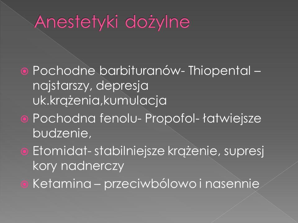 Pochodne barbituranów- Thiopental – najstarszy, depresja uk.krążenia,kumulacja Pochodna fenolu- Propofol- łatwiejsze budzenie, Etomidat- stabilniejsze krążenie, supresj kory nadnerczy Ketamina – przeciwbólowo i nasennie
