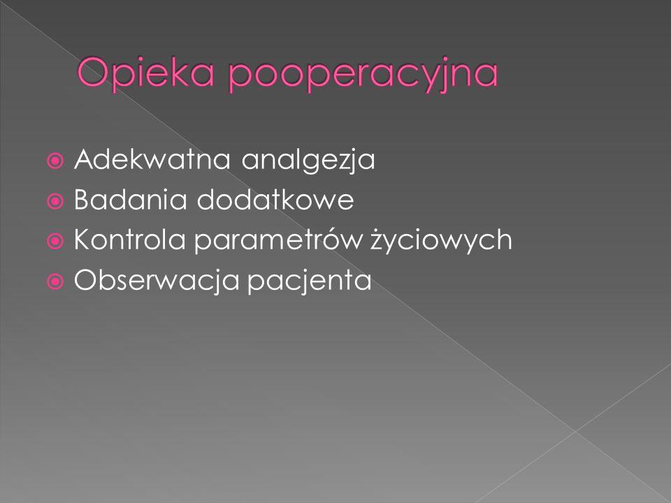 Adekwatna analgezja Badania dodatkowe Kontrola parametrów życiowych Obserwacja pacjenta