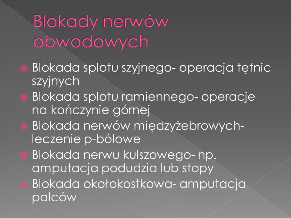 Blokada splotu szyjnego- operacja tętnic szyjnych Blokada splotu ramiennego- operacje na kończynie górnej Blokada nerwów międzyżebrowych- leczenie p-bólowe Blokada nerwu kulszowego- np.