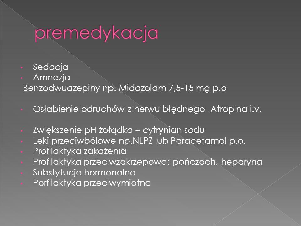 Sedacja Amnezja Benzodwuazepiny np.