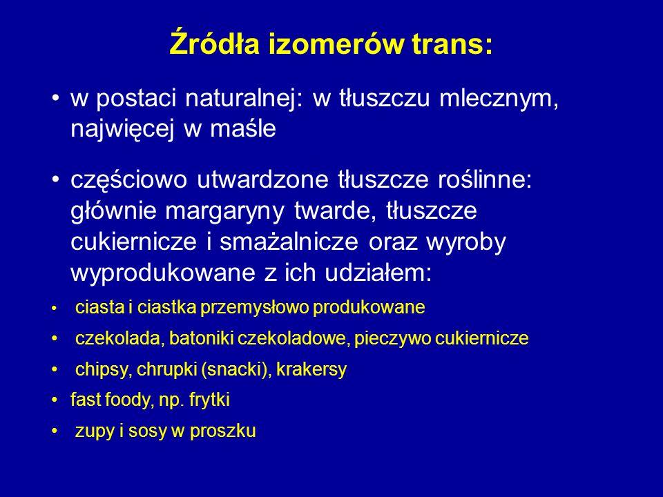 Źródła izomerów trans: w postaci naturalnej: w tłuszczu mlecznym, najwięcej w maśle częściowo utwardzone tłuszcze roślinne: głównie margaryny twarde,