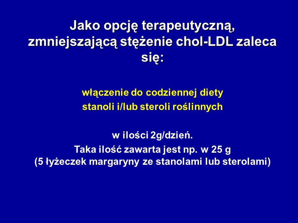 Jako opcję terapeutyczną, zmniejszającą stężenie chol-LDL zaleca się: włączenie do codziennej diety stanoli i/lub steroli roślinnych w ilości 2g/dzień