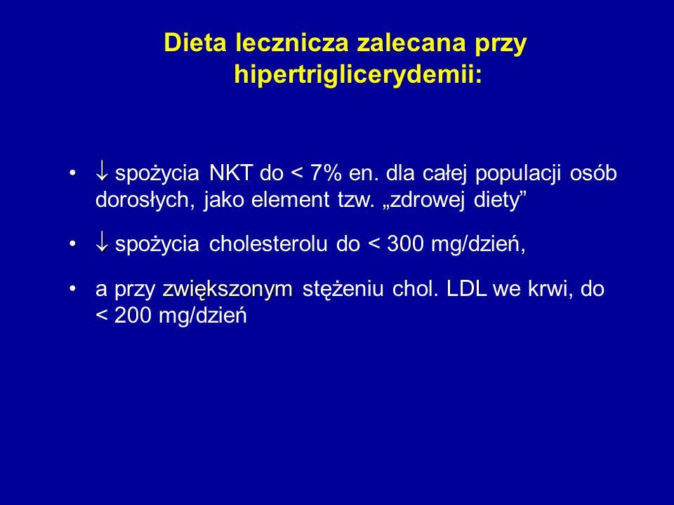 Dieta lecznicza zalecana przy hipertriglicerydemii: spożycia NKT do < 7% en. dla całej populacji osób dorosłych, jako element tzw. zdrowej diety spoży