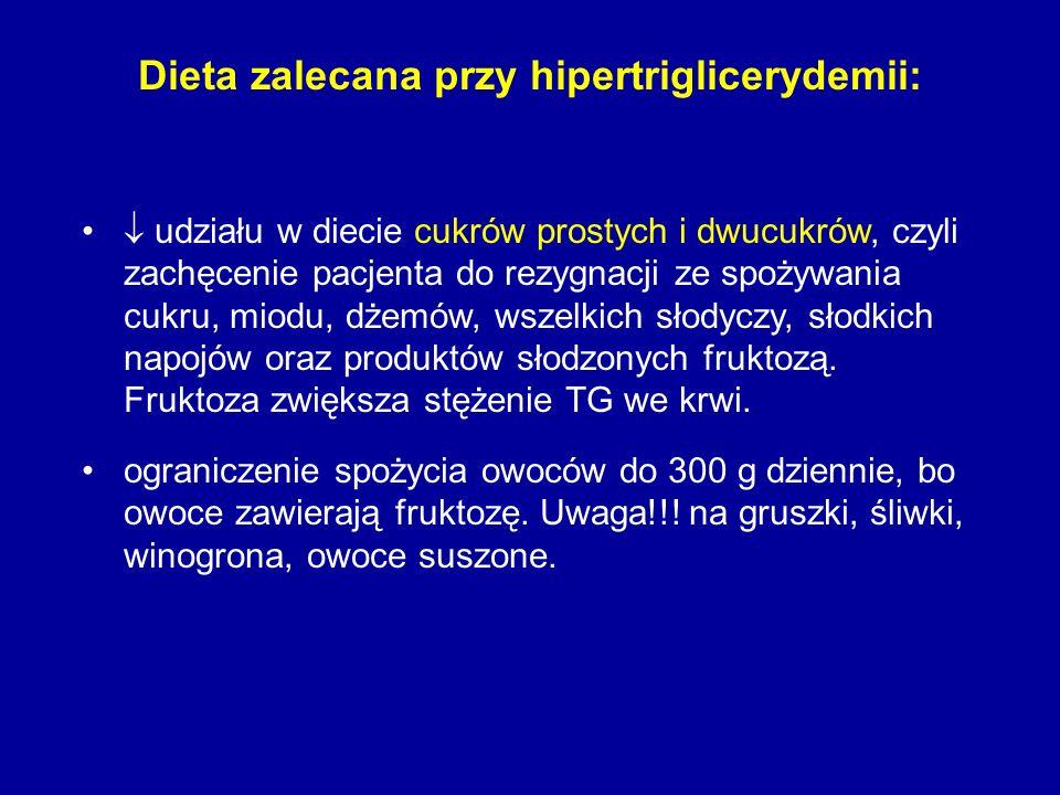 Dieta zalecana przy hipertriglicerydemii: udziału w diecie cukrów prostych i dwucukrów, czyli zachęcenie pacjenta do rezygnacji ze spożywania cukru, m
