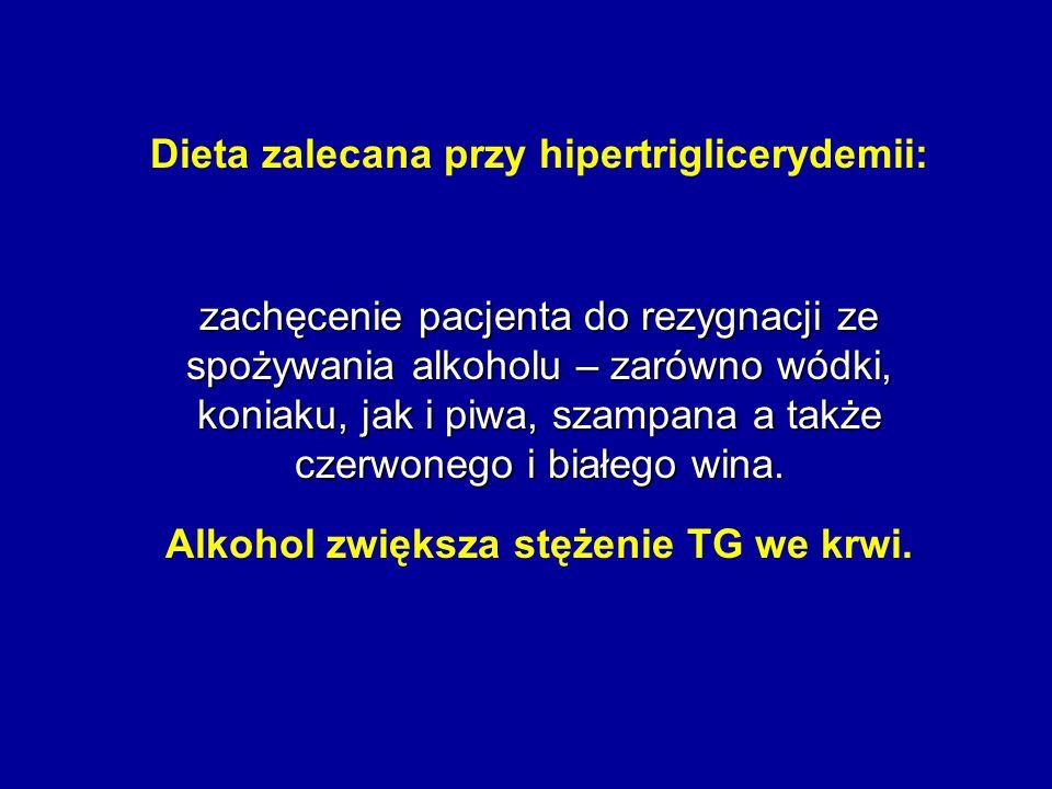 Dieta zalecana przy hipertriglicerydemii: zachęcenie pacjenta do rezygnacji ze spożywania alkoholu – zarówno wódki, koniaku, jak i piwa, szampana a ta