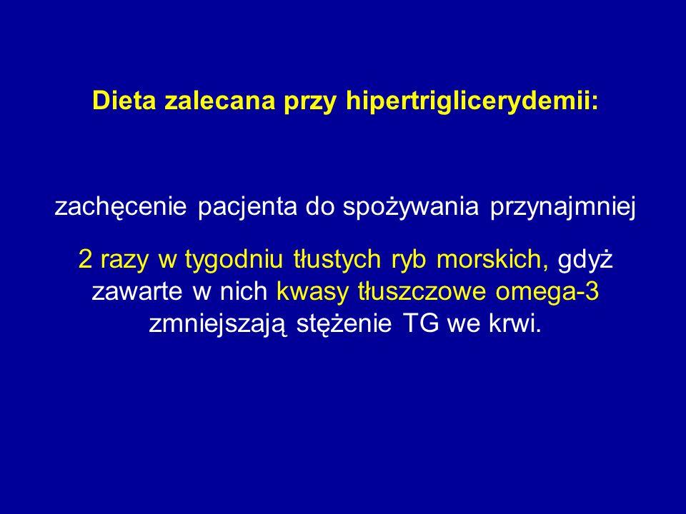 Dieta zalecana przy hipertriglicerydemii: zachęcenie pacjenta do spożywania przynajmniej 2 razy w tygodniu tłustych ryb morskich, gdyż zawarte w nich