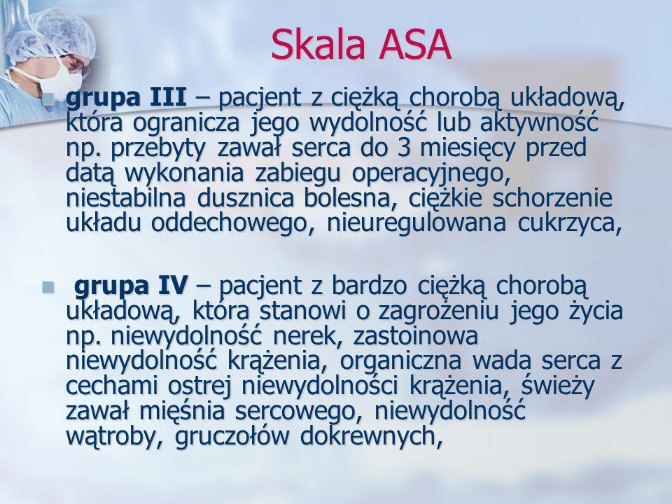 Skala ASA grupa III – pacjent z ciężką chorobą układową, która ogranicza jego wydolność lub aktywność np. przebyty zawał serca do 3 miesięcy przed dat