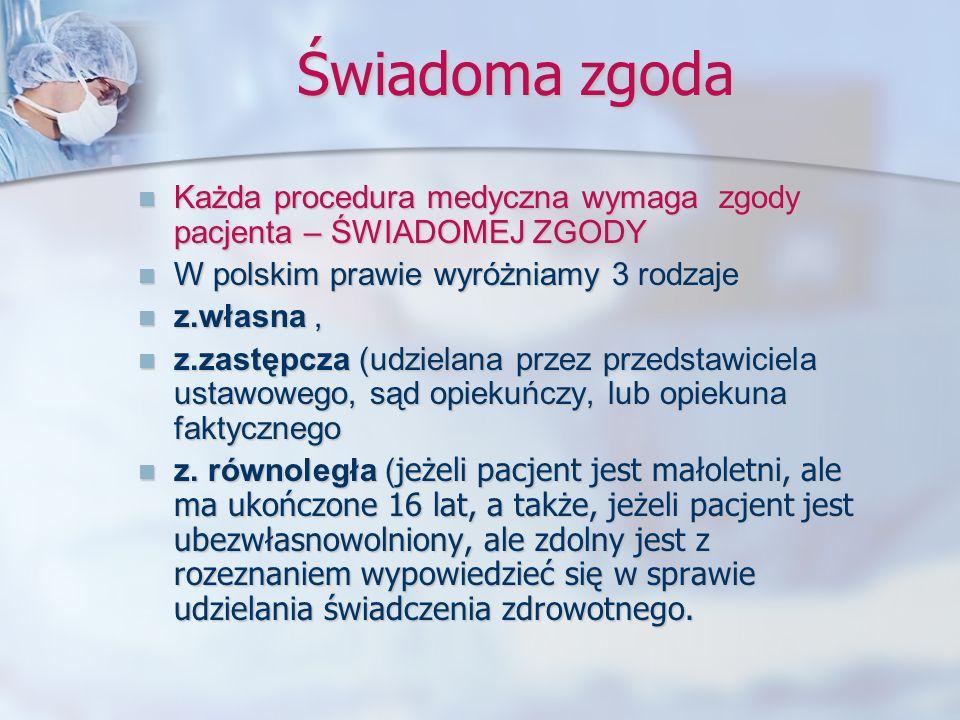 Świadoma zgoda Każda procedura medyczna wymaga zgody pacjenta – ŚWIADOMEJ ZGODY Każda procedura medyczna wymaga zgody pacjenta – ŚWIADOMEJ ZGODY W pol