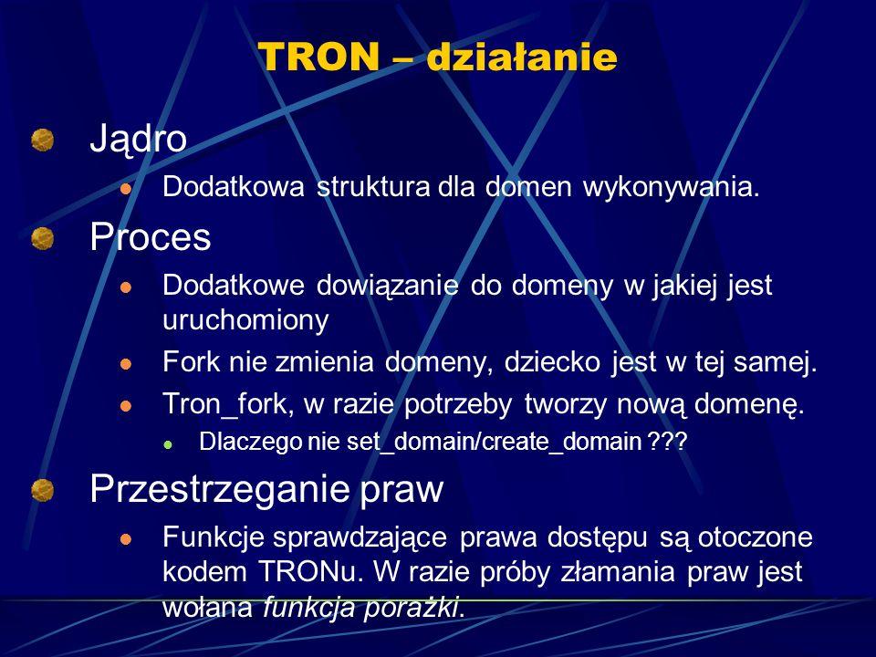 TRON – działanie Jądro Dodatkowa struktura dla domen wykonywania.