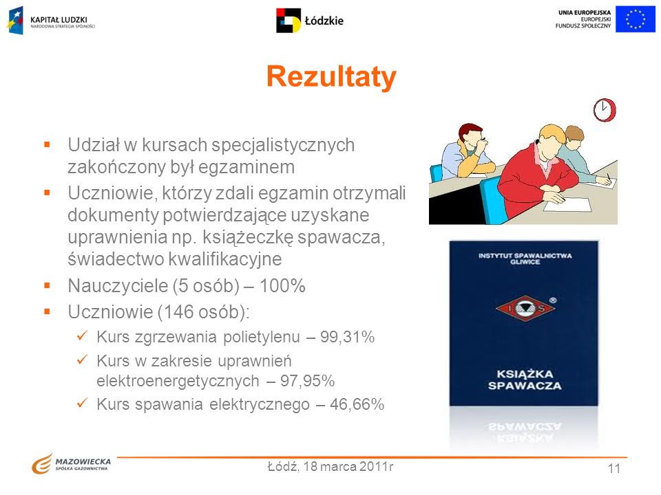 Rezultaty Łódź, 18 marca 2011r 11 Udział w kursach specjalistycznych zakończony był egzaminem Uczniowie, którzy zdali egzamin otrzymali dokumenty potw