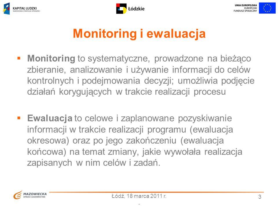 Monitoring i ewaluacja Monitoring to systematyczne, prowadzone na bieżąco zbieranie, analizowanie i używanie informacji do celów kontrolnych i podejmo