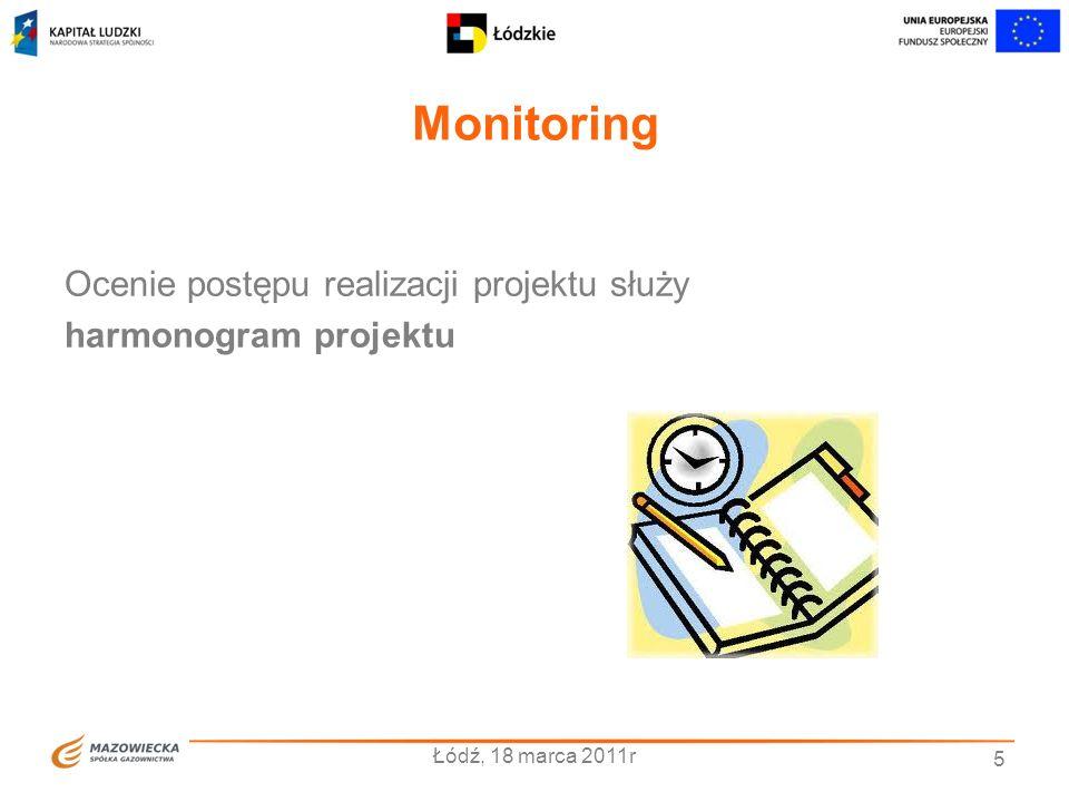 Monitoring Łódź, 18 marca 2011r 5 Ocenie postępu realizacji projektu służy harmonogram projektu