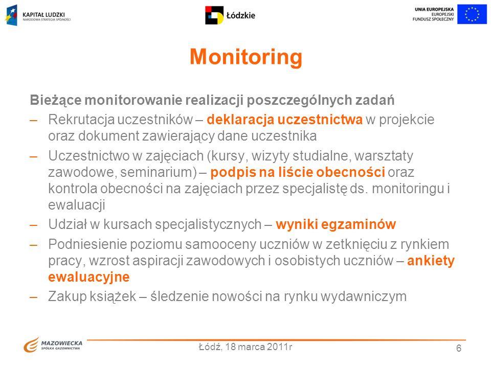 Monitoring Łódź, 18 marca 2011r 6 Bieżące monitorowanie realizacji poszczególnych zadań –Rekrutacja uczestników – deklaracja uczestnictwa w projekcie