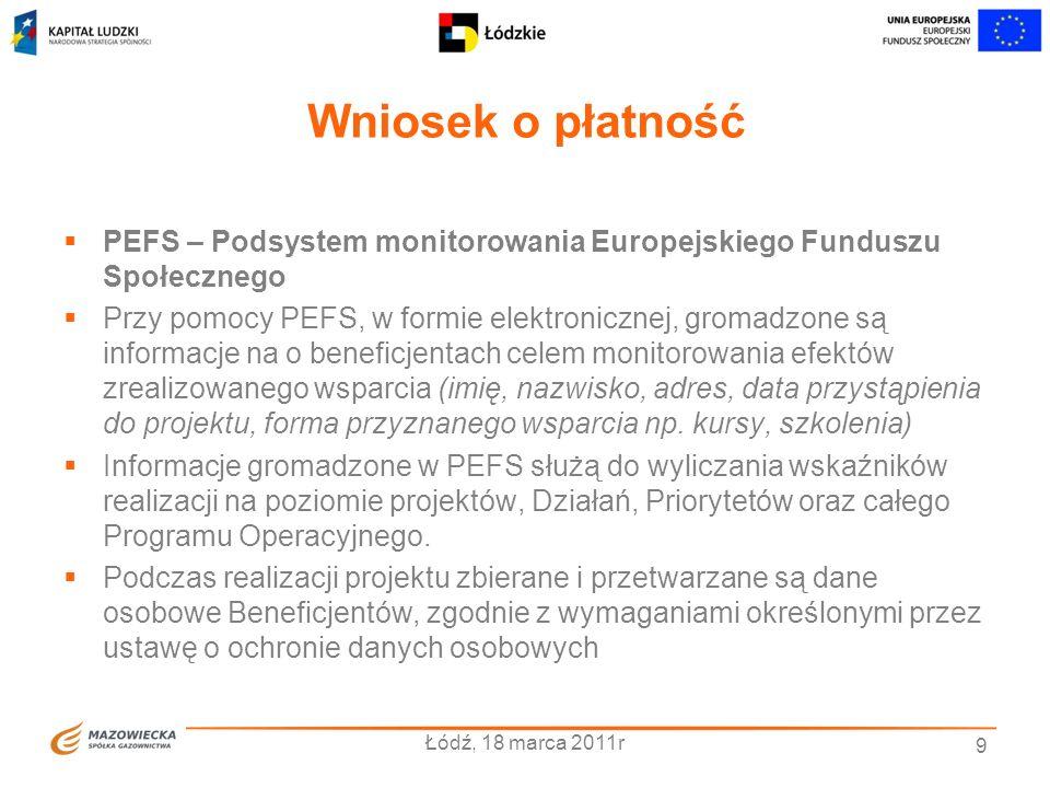Wniosek o płatność PEFS – Podsystem monitorowania Europejskiego Funduszu Społecznego Przy pomocy PEFS, w formie elektronicznej, gromadzone są informac