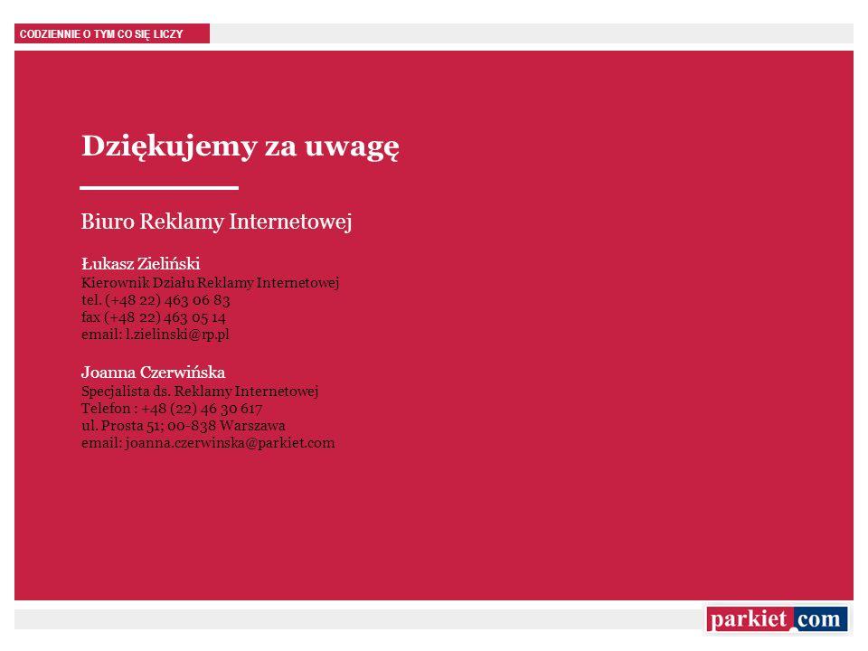 CODZIENNIE O TYM CO SIĘ LICZY Dziękujemy za uwagę Łukasz Zieliński Kierownik Działu Reklamy Internetowej tel. (+48 22) 463 06 83 fax (+48 22) 463 05 1