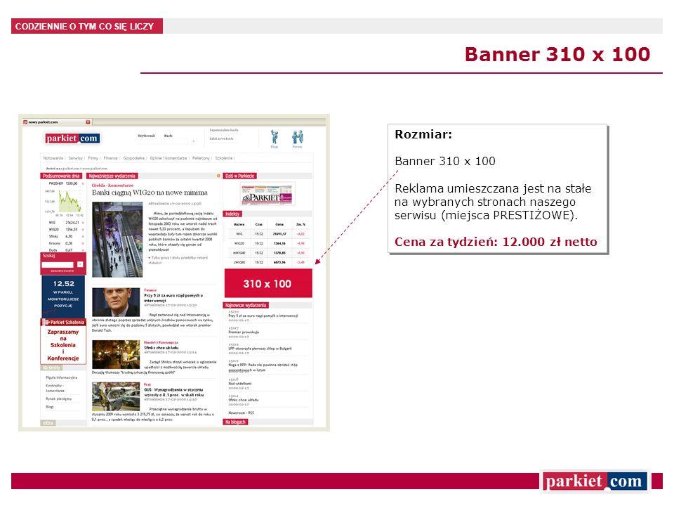 CODZIENNIE O TYM CO SIĘ LICZY Banner 310 x 100 Rozmiar: Banner 310 x 100 Reklama umieszczana jest na stałe na wybranych stronach naszego serwisu (miej