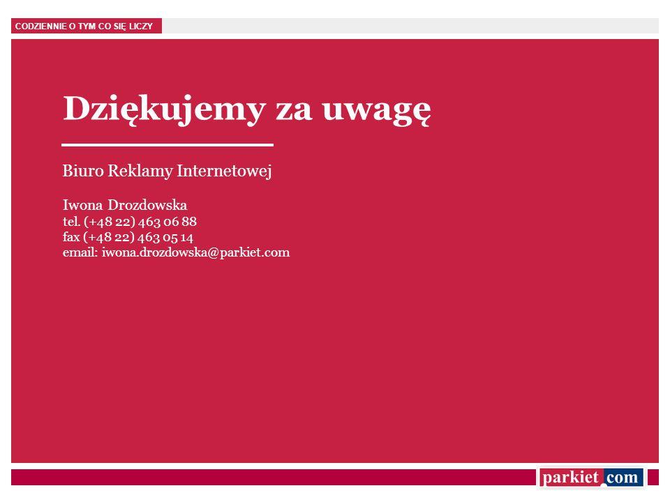 CODZIENNIE O TYM CO SIĘ LICZY Dziękujemy za uwagę Biuro Reklamy Internetowej Iwona Drozdowska tel. (+48 22) 463 06 88 fax (+48 22) 463 05 14 email: iw