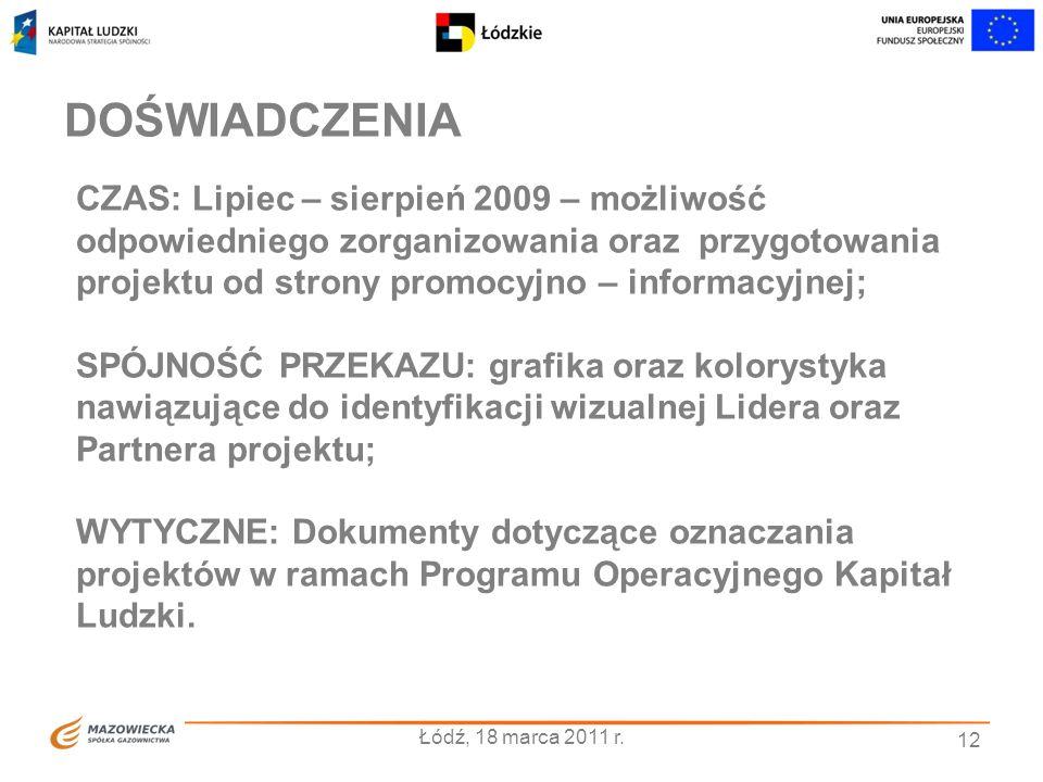 CZAS: Lipiec – sierpień 2009 – możliwość odpowiedniego zorganizowania oraz przygotowania projektu od strony promocyjno – informacyjnej; SPÓJNOŚĆ PRZEKAZU: grafika oraz kolorystyka nawiązujące do identyfikacji wizualnej Lidera oraz Partnera projektu; WYTYCZNE: Dokumenty dotyczące oznaczania projektów w ramach Programu Operacyjnego Kapitał Ludzki.