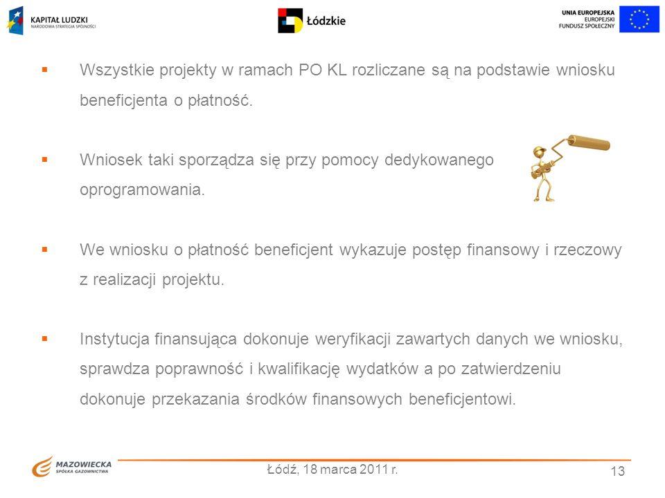 13 Łódź, 18 marca 2011 r. Wszystkie projekty w ramach PO KL rozliczane są na podstawie wniosku beneficjenta o płatność. Wniosek taki sporządza się prz