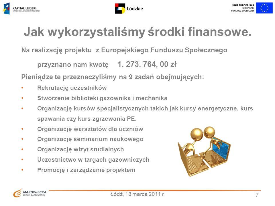 7 Jak wykorzystaliśmy środki finansowe. Na realizację projektu z Europejskiego Funduszu Społecznego przyznano nam kwotę 1. 273. 764, 00 zł Pieniądze t